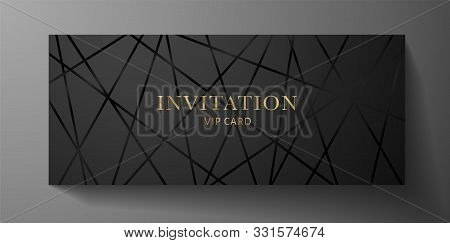Luxurious Vip Invitation Template With Black Lines On Background And Gold (golden) Text. Premium Cla