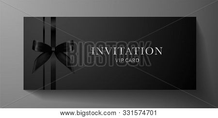Luxurious Vip Invitation Template With Blow, Ribbon On Black Background And Silver Text. Premium Cla
