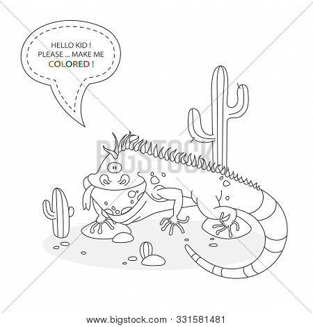 Cartoon Character Of A Reptile. Funny Cute Iguana Posing Between Stones And Cactus. Vector Illustrat