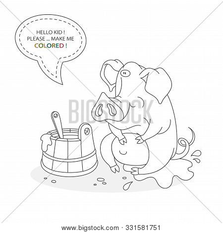 Black And White Coloring Book Page. Cartoon Character Of A Funny Cute Pig In The Mud And A Trough Wi
