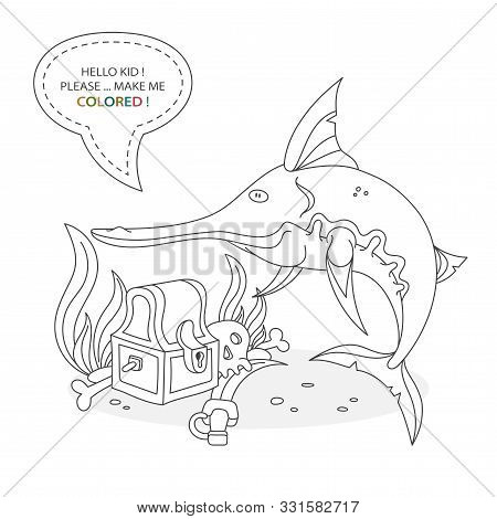 Cartoon Character Of A Water Inhabitant. Funny Cute Swordfish, Treasure Chest, Pirate Bones And Unde