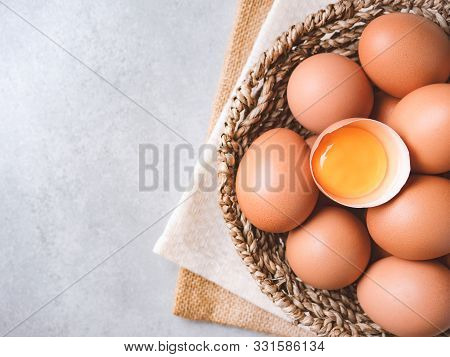 Top View And Close Up Image Of  Organic Chicken Eggs Are One Of The Food Ingredients On The Restaura