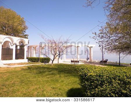 Park And Statue Of Mihai Eminescu, Constanta, Romania. History And Travel Concept.