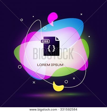 Black Css File Document. Download Css Button Icon Isolated On Dark Blue Background. Css File Symbol.