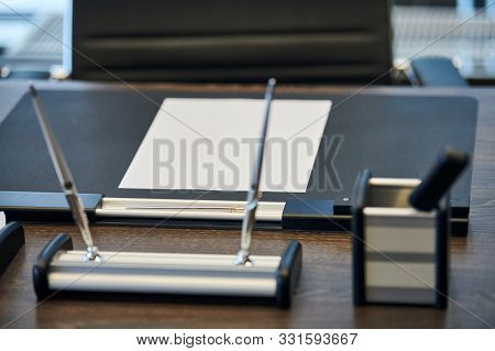 Office Workplace With Stationery. Boss, Chief, Supervisor Or Head Of Company Working Place In Modern