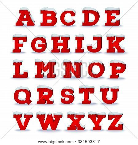 Christmas Alphabet With Snow Cap Effect. Vector Illustration, Transparent Shadow