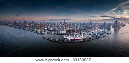 Aerial View From Hamburg City At Beautiful Sunrise
