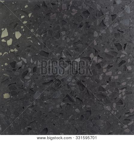 Black Quartz Surface White For Bathroom Or Kitchen Countertop. High Resolution Texture And Pattern.