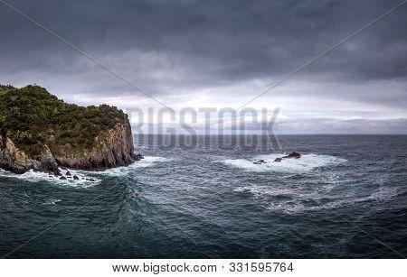 Aerial View Of A Coastal Region On The Atlantic Ocean