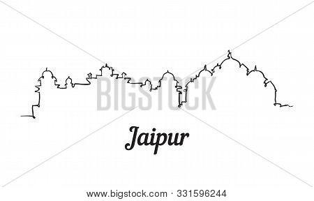 One Line Style Jaipur Skyline. Simple Modern Minimalistic Style Vector.