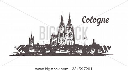 Cologne Skyline Sketch. Cologne Hand Drawn Illustration Isolated On White Background.