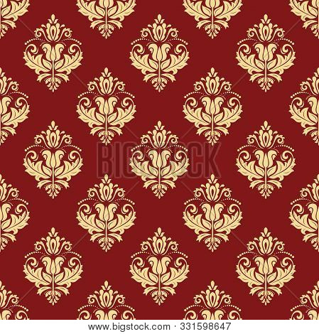 Orient Vector Classic Red And Golden Pattern. Seamless Abstract Background With Vintage Elements. Or