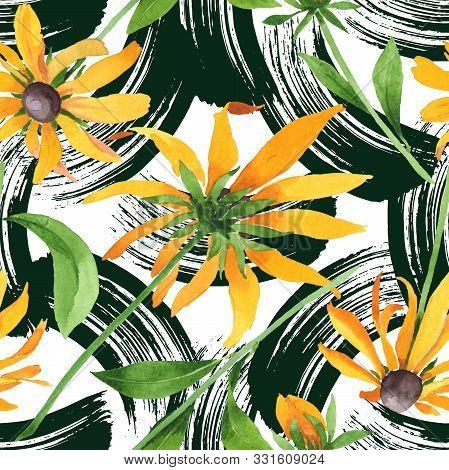 Rudbeckia Hirta Floral Botanical Flowers. Watercolor Background Illustration Set. Seamless Backgroun