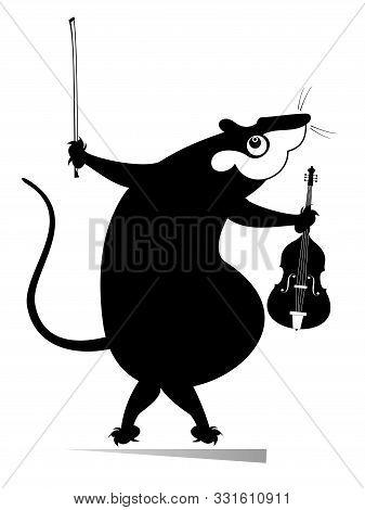 Cartoon Rat Or Mouse Violinist Illustration Isolated Illustration. Funny Rat Or Mouse With Violin An