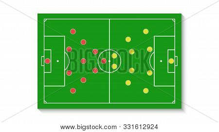 A Green Football Field With A Tactical Scheme Of The Arrangement Of Players Of Two Soccer Teams On T