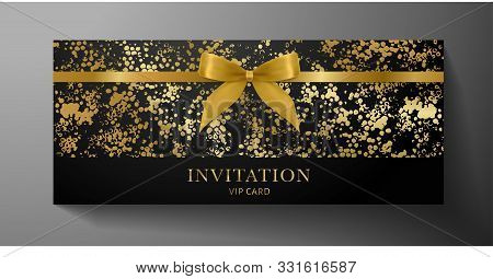 Luxurious Vip Invitation Template With Gold Blow, Ribbon On Black Textured Background. Premium Class