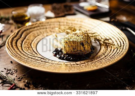 Black Angus tenderloin steak covered with 24 carat gold poster