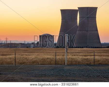 Decommissioned Nuclear Power Plant Rancho Seco At Sunset