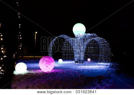 Festive Illumination Look Like A Water Fountain Of Many Lights Decorates A City And Giving New Year