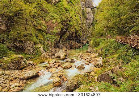 Astonishing View Of Tolmin Gorge (tolminska Korita). It Located On The Southern End Of Triglav Natio