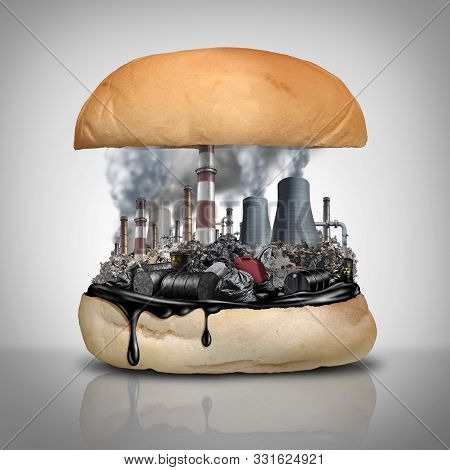 Industrial Chemicals In Food As A Public Health Hazard With 3d Illustration Elements.