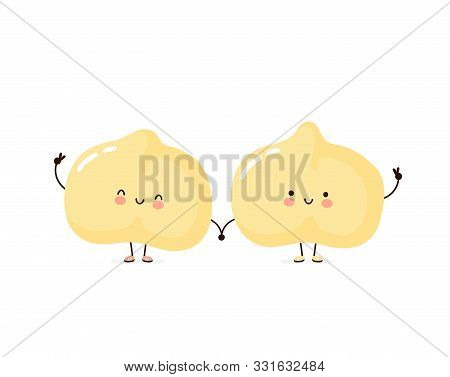 Cute Happy Chickpea Friends. Isolated On White Background. Vector Cartoon Character Illustration Des
