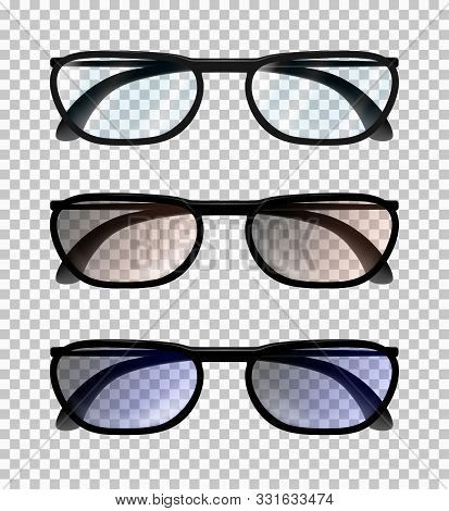 Three Classic Realistic  Man Or Woman Glasses Isolated On The Transparent Background. Frontal View W