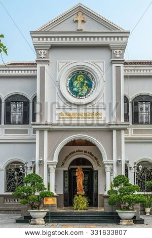 Da Nang, Vietnam - March 10, 2019: Entrance Part Of Gray House Of The Catholic Bishop Of The Local D