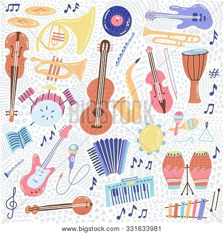 Big Music Set Musical Instrument And Symbols Icons Collections. Cartoon Sound Concept Elements. Musi