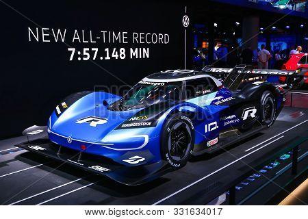 Frankfurt Am Main, Germany - September 17, 2019: Blue Prototype Fully Electric Vehicle Volkswagen Id