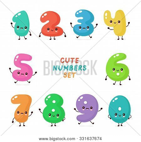 Cute Smiling Happy Numbers Set Collection. Vector Flat Cartoon Character Illustration.isolated On Wh
