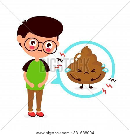 Sad Young Man With Poop Problem Character. Vector Flat Cartoon Illustration Icon Design. Isolated On