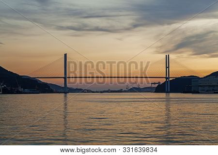 View Of Megami Ohashi Bridge In Nagasaki Harbour.