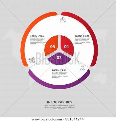 Vector Flat Template Circle And Sector Infographics. Business Concept With 3 Sectors. Three Steps Fo