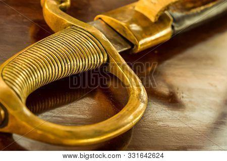 Iron Ribbed Handle Close Up Hilt Saber Military Background Design