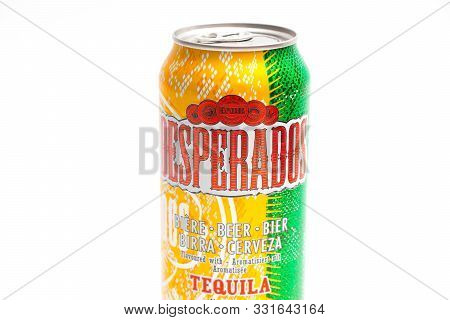 Geneva/switzerland-09.09.18 : Desperados Flavored Beer Tequila Can Cerveza