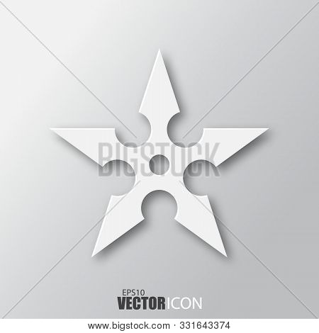 Shuriken Icon In White Style With Shadow Isolated On Grey Background.