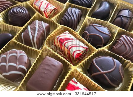 Close-up Of Assorted Chocolate Pralines. Stock Image
