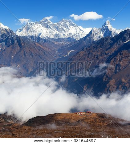 Panoramic View Of Mount Everest, Lhotse And Ama Dablam From Kongde, Sagarmatha National Park, Khumbu