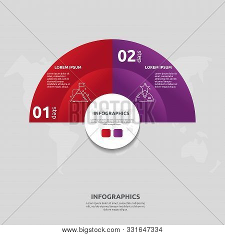 Vector Flat Template Circle And Sector Infographics. Business Concept With 2 Sectors. Two Steps For