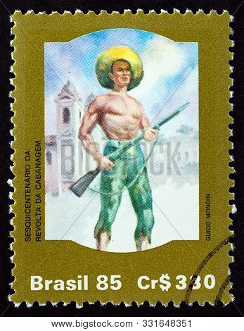 Brazil - Circa 1985: A Stamp Printed In Brazil Issued For The 150th Anniversary Of The Cabanagem Ins