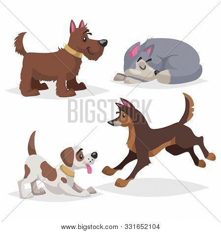 Cute Cartoon Dogs Set. Domestic Farm Animals Collection. Sleeping, Paying, Running Dogs. Vector Illu