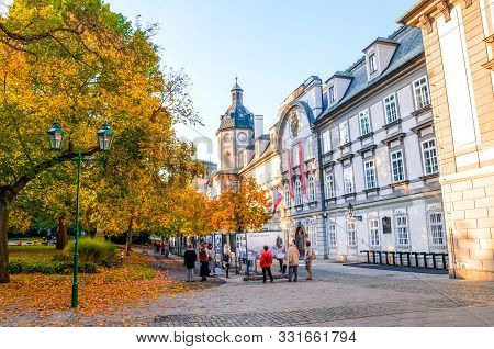 Pilsen, Czechia - Oct 28, 2019: Smetanovy Sady In Plzen, Czech Republic. Outside Exhibition In Front