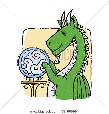 Dragon Sitting And Guesses On The Crystal Ball. Fairytale Cute Monster