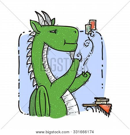 Dragon Sitting And Guesses On Tarot Cards. Fairytale Cute Monster