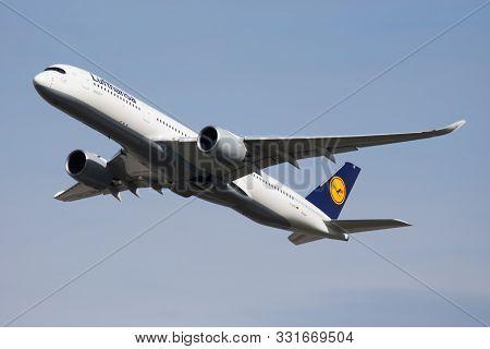 Munich / Germany - October 4, 2017: Lufthansa Airbus A350-900 D-aixc Passenger Plane Departure At Mu