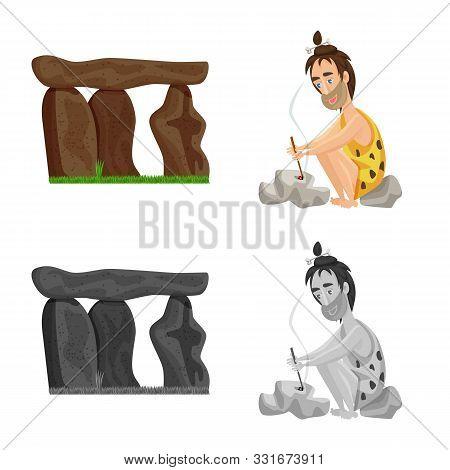 Vector Design Of Evolution And Prehistory Symbol. Set Of Evolution And Development Stock Vector Illu