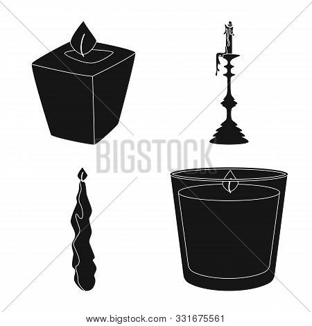 Vector Design Of Candlelight And Decoration Icon. Set Of Candlelight And Wax Vector Icon For Stock.
