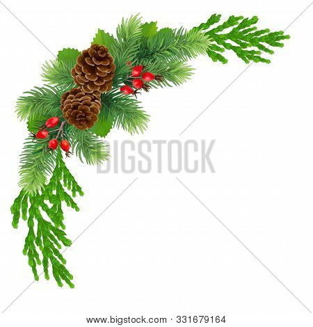 Christmas Frame Or Wreath , Christmas. Holiday Concept. A Wide Garland Of Fir Branches, Pine Cones,