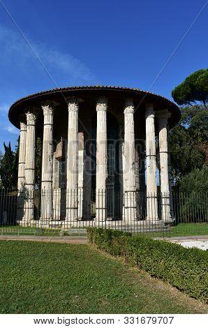 Temple Of Hercules Victor (tempio Di Ercole Vincitore). Rome, Italy.